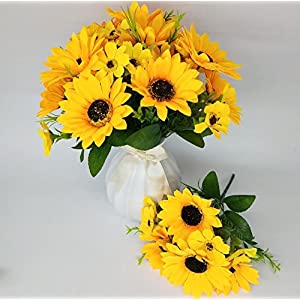 """Ieoyoubei 2 PCS Bouquet of Artificial Silk Flower Sunflower 12"""" Bouquet and Green Leaf for Home Decoration Bridal Wedding Festival Decoration Small Flower (Yellow-Orange) 4"""