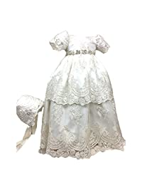 BuyBro Baby Girls Christening Gowns Dresses 2 Tiers Lace Beading with Hat 3M Ivory