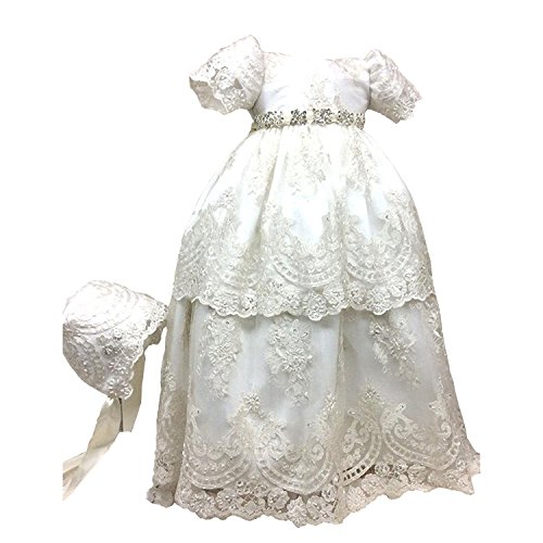 BuyBro Baby Girls Christening Gowns Dresses 2 Tiers Lace Beading with Hat 12M Ivory