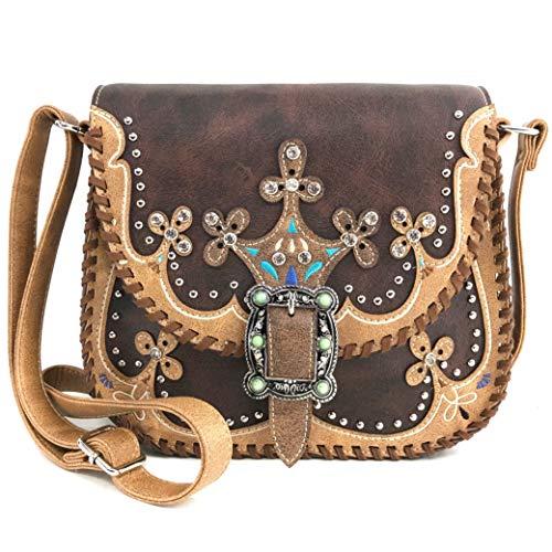 Zelris Western Moccasin Flower Buckle Women Conceal Carry Crossbody Satchel Bag (Classic Brown)