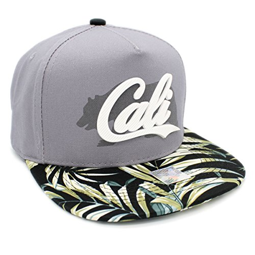 CALI Rubber Patch Shadow Bear Flat bill Adjustable Snapback Cap California Hat (DK - Flower Snapback Hats