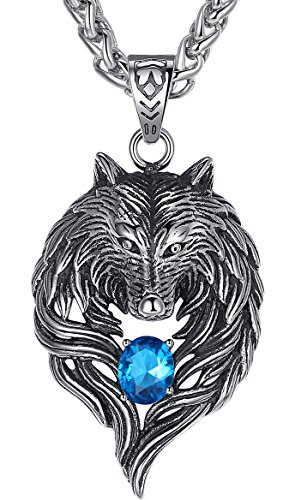 Aoiy Men's Stainless Steel Tribal Wolf Biker Pendant Necklace, Blue, 24