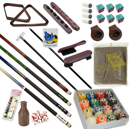 Pool Table - Premium Billiard 32 Pieces Accessory Kit - Pool Cue Sticks Bridge Ball Sets (Kit-5)