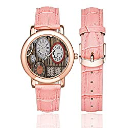 Clock Decor Rose Gold Leather Strap Watch,Antique Clocks on The Wall Instruments of Time Vintage Decorative Pattern for Woman,Case Diameter:1.4D