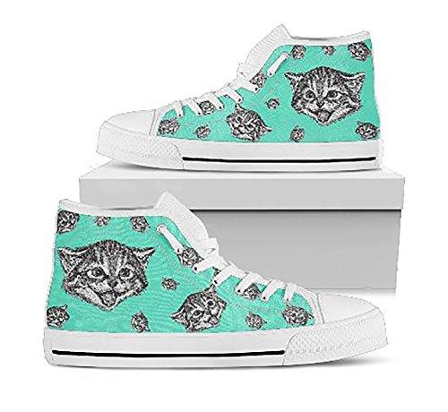 Cat Hi Top Sneakers, Custom Cat Themed Hi Top Shoes, Girls Hi Tops Sneakers, Cat Sneakers, Converse Style - Happy -