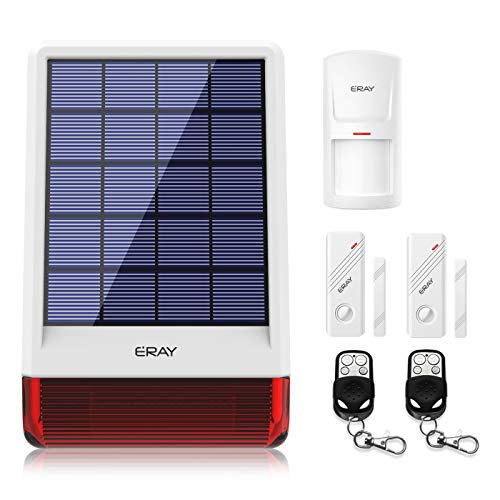ERAY JD-W06 Home Burglar Security Alarm Siren Solar Powered with Strobe Outdoor, DIY Driveway 120dB Alert System with 1 Motion Detector 2 Door Sensors and 2 Remote ()