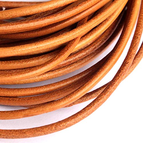 1mm 2mm 3mm 4mm Round Genuine Leather Strip Cord Black Erth Color Braiding String (11 Yards) (Earth Yellow, - Supplies Leather Braiding