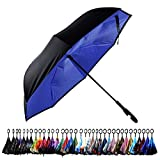 Aplus Trend Newest Windproof Double Layer C-Handle Inverted Umbrella with Fabric Cover Reverse Umbrella for UV Protection & Rain   Outdoor Car Umbrella for Women & Men (Navy Blue)