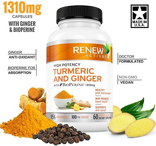 Ginger Turmeric Curcumin Supplement Capsules: Organic All Natural Antioxidant Supplements with Bioperine & Black Pepper