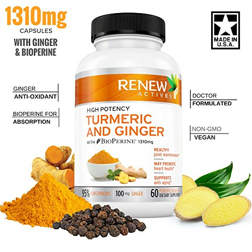 Ginger Turmeric Curcumin Supplement Capsules: Organic Joint Support & Anti Inflammatory Pills aid Fibromyalgia & Arthritis Pain Relief – Natural Antioxidant Supplements with Bioperine & Black Pepper