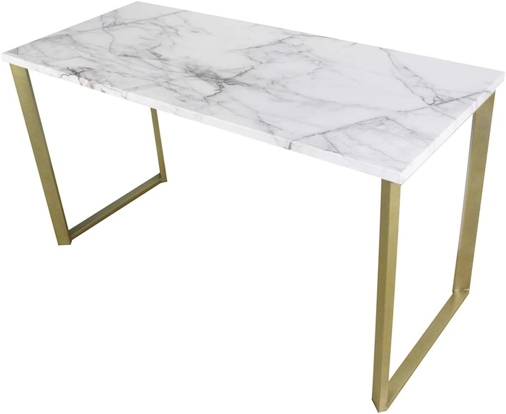 roomfitters Marble Print Top Writing Desks Workstation for Home Office, Gold Legs, 55.1 W
