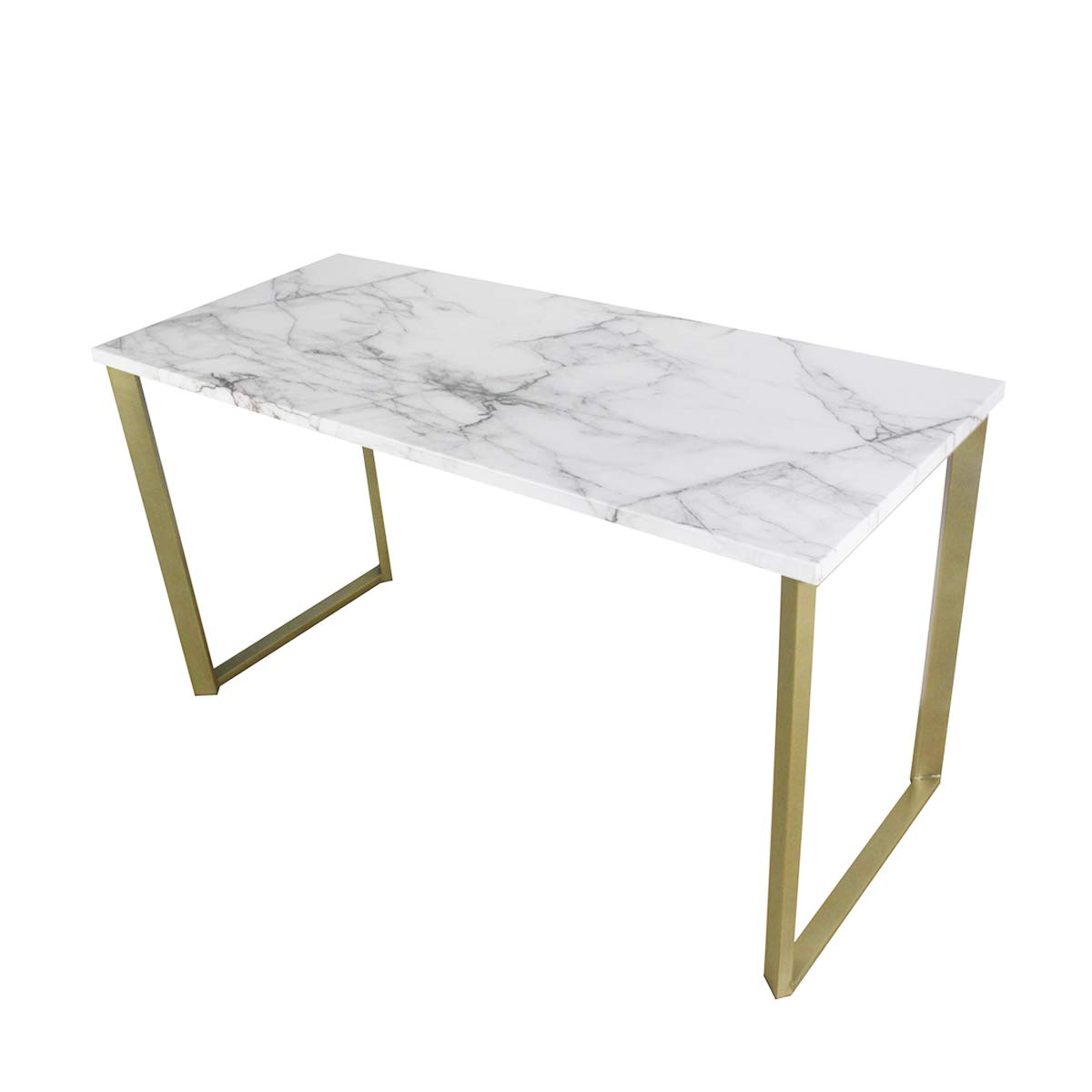 Roomfitters Marble Print Top Writing Desks/Workstation for Home Office, Gold Legs, 55.1'' W