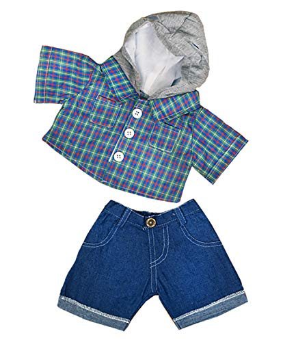"Price comparison product image Stuffems Toy Shop Skater Hoodie w/Denim Pants Teddy Bear Clothes Outfit Fits Most 14"" - 18"" Build-a-bear, Vermont Teddy Bears, and Make"