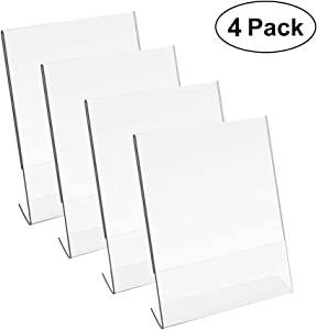 8.5 X 11 Acrylic Sign Holder Slant Back Design Clear Table Single Sheet Portrait Ad Frames for Home, Office, Store, Restaraunt (4)