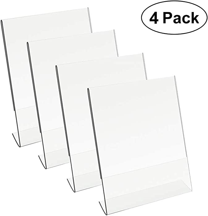 8.5 X 11 Acrylic Sign Holder Slant Back Design Clear Table Single Sheet Portrait Ad Frames for Home, Office, Store, Restaraunt (4)