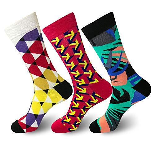 Emopeak Mens Dress Socks 3 Pack - MiQ Novelty Socks Range Fashion Luxury Business High Socks Men for Sports