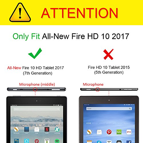 Fintie Keyboard Case for All-New Fire HD 10 (Compatible with 7th and 9th Generations, 2017 and 2019 Releases), Slim Lightweight Stand Cover with Detachable Wireless Bluetooth Keyboard, Black