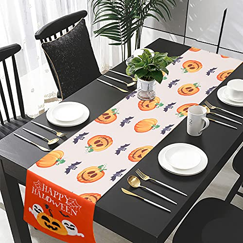 Nieolheoui Halloween Pumpkin Ghost Orange Table Runners, Polyester Table Runner Dresser Scarves, Rectangle Table Setting Decor for Halloween Party, Dinner Parties and Home Decorations,14 x71 Inch