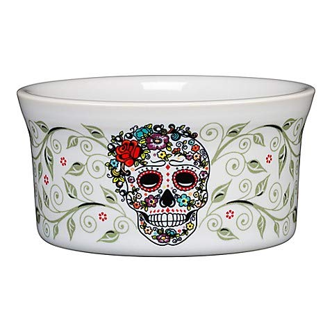 Fiesta Ramekins (Fiesta Dinnerware Colection in White with Colorful, Bold and Iconic Halloween Sugar Skull Pattern, Chip-resistant and Durable Ceramic, Made in USA (Ramekin))