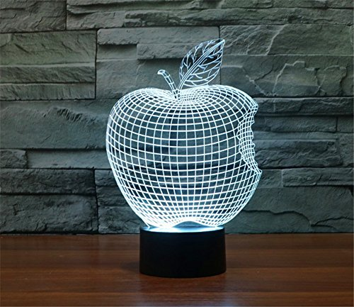 ATC 3D Illusion Abstract Notch Apple 7 Colors Touch USB Living Room Decor Desk Lamp