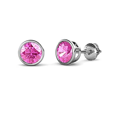 467f153c4 Image Unavailable. Image not available for. Color: TriJewels Pink Sapphire  Bezel Set Solitaire Stud Earrings 1.90 ctw in 14K White Gold