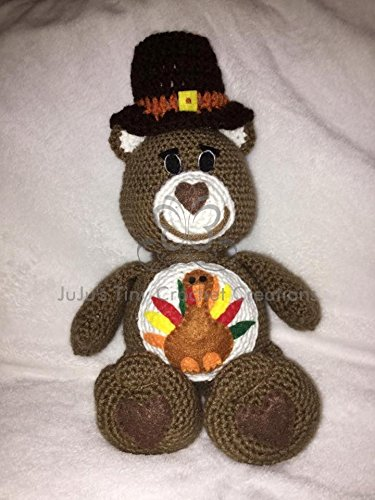 - Crocheted Handmade Care Bear Inspired Thanksgiving Stuffed Animal - Holiday Decoration - Teddy Bear - Pilgrim - Turkey - Fall - Fall Holiday