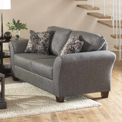 American Style Multiple Cushion Loveseat With Polyurethane Foam, Grey Finish