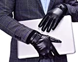 Men's Winter Motorcycle Driving Genuine Nappa Leather Gloves Warm Lined Black 8.5