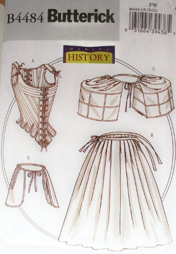 OOP Butterick Making History Pattern B4484. Misses Szs 6;8;10 Historical Underpinnings. Stay (Corset); Petticoat; Pocket Hoops; Pockets. Renaissance? ()