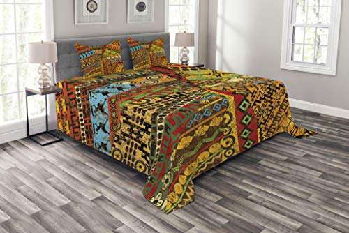 Ambesonne African Bedspread Set Queen Size, Grunge Collage with Ethnic Motifs Tribal Ancient Traditional Art Ornate Geometric, Decorative Quilted 3 Piece Coverlet Set with 2 Pillow Shams, Multicolor ()