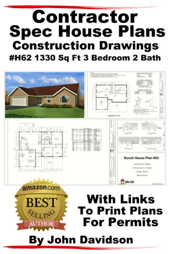 Contractor Spec House Plans Blueprints Construction Drawings 1200 Sq Ft to 1800 Sq Ft 3 Bedroom 2 Bath