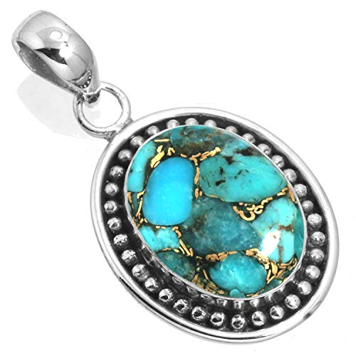 925 Sterling Silver Pendant Copper Blue Turquoise Handmade Jewelry