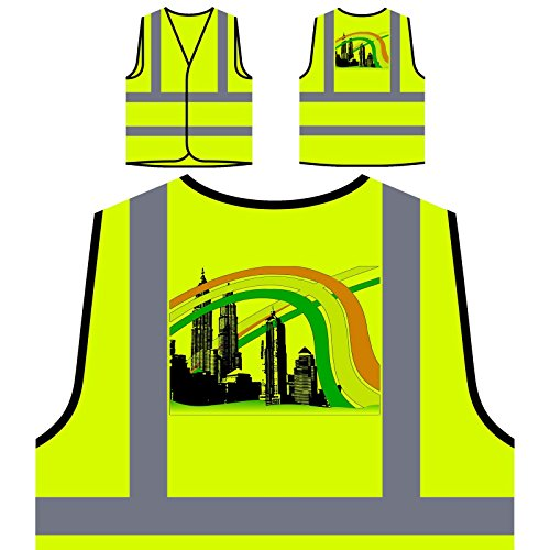 India Asia Kuala Lumpur Towers World Personalized Hi Visibility Yellow Safety Jacket Vest Waistcoat - Xxxx India