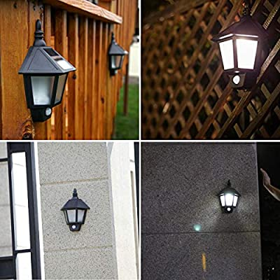 Solar Motion Sensor Light Outdoor, MAYSAK 3 LED Wall Mount Sconce Light Landscape Security Lighting Lamp Dusk to Dawn Light Waterproof for Garden Yard Patio Porch Fence