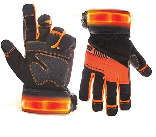 Custom Leathercraft L145L Lighted Safety Viz Pro Gloves, ...
