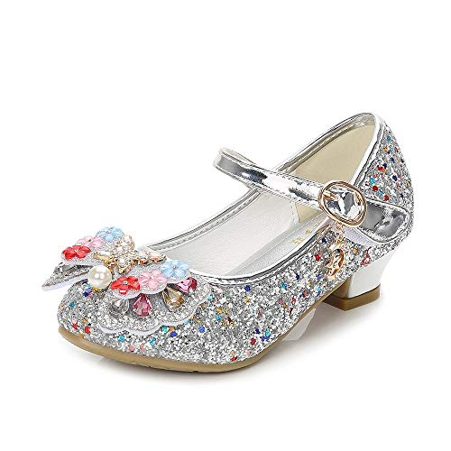 YING LAN Girls Cosplay Dress Wedding Party Shoes Glitter Sequins Low Heel Mary Jane Princess Shoes Silver