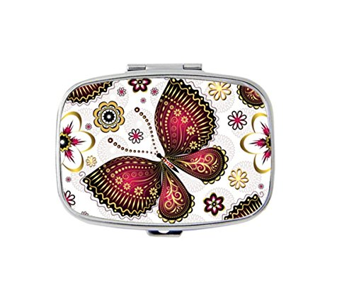 Gold Purple Vintage Butterflies And Flowers Custom Personlized Rectangular Tablet Medicine Pocket Purse Travel Pill Vitamin Decorative Box Case ()