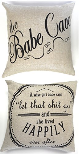 Evelyn Hope Collection Sale-Babe cave-let that shit go funny sparkle linen throw pillow-on sale for a limited time! (Babe Collections)