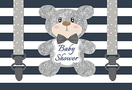 Leyiyi 6x4ft Photography Backdrop Cartoon Baby Shower Background Toy Bear Doll Twinkle Stars Sequins Dreamlike Cake Table Stripes Bib Pants Boy Happy Birthday Banner Photo Portrait Vinyl Studio ()