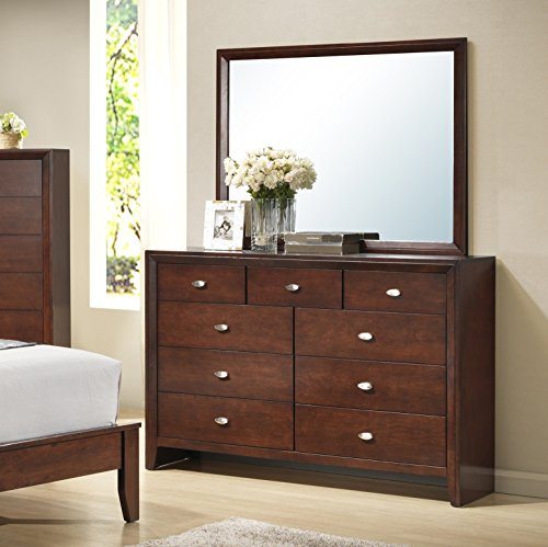 Roundhill Furniture B351DM Gloria 351 Brown Cherry Finish Wood Dresser and Mirror