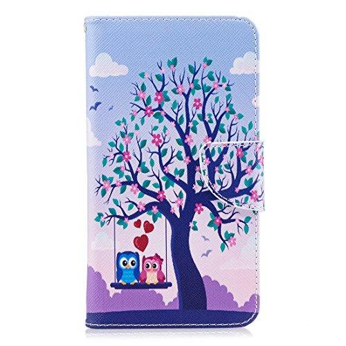 Hozor Huawei Mate 10 cas, conception d'impression en aérosol peint, PU portefeuille en cuir Flip, avec fermeture magnétique, étui de protection avec fente pour carte / support Acacia tree