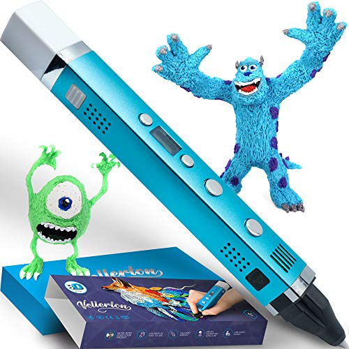 3D Pen for Kids - 3D Printing Pen set kit for girls boys teens adults - 3D Drawing Pencil - PLA ABS - original with display - cute gift box for art - best mini metal 3d pens starter pack case