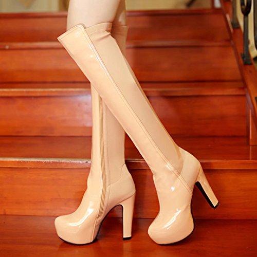 AIYOUMEI Damen Stretch Overknee Stiefel mit Plateau und