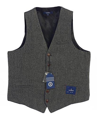 Gioberti Men's 6 Button Custom Formal Tweed Vest, barleycorn Gray, X - Tweed Shops