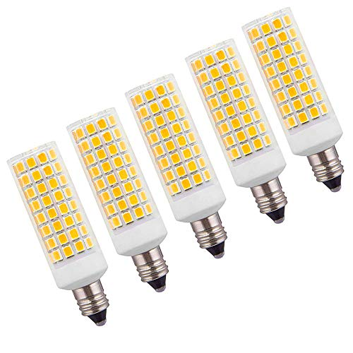 [5-Pack] 8W E11 Led Bulb 75W 100W 150W Equivalent, Dimmable 1000 LM, Natural Warm White 2700K, E11 Mini Candelabra Base, JD E11 T3/T4 360 Degree Beam Angle for Indoor Decorative Lighting
