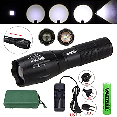VA-A100 LED Flashlight Kit, Zoomable, Rechargeable Torch, 900 Lumens