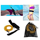 CHICTRY Swim Training Belt Swimming Resistance Cord Safe Leash Exerciser Swim Bungee Tether with Storage Mesh Bag for Adults Children Swimmer Amateurs