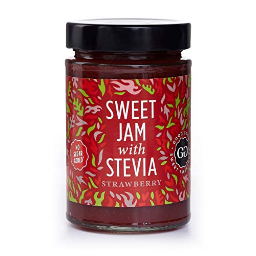 Sweet Jam with Stevia by Good Good - 12 oz / 330 g - No Added Sugar Strawberry Jam - Keto - Vegan - Gluten Free - Diabetic (Strawberry) ()