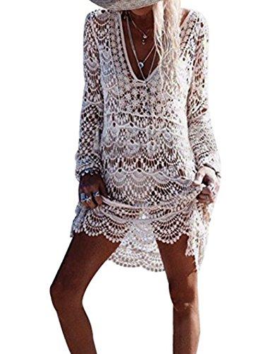 Asskdan Damen Boho Weben Einzigartig Bikini Cover Up Sommerkleid Strandkleid Lang - One Size