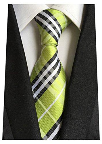 MINDENG New Classic Striped White Black Streak 100% Silk Men'S Tie Necktie Ties - Ties Discount Neckties